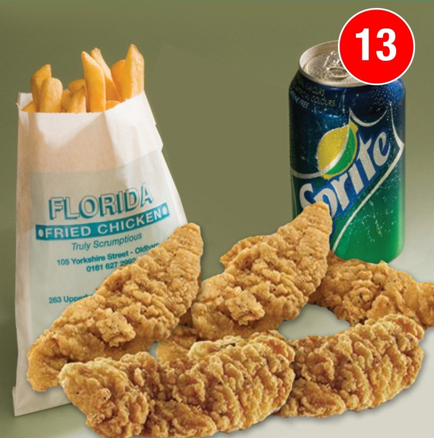 5 Pieces of Chicken Strips with Large Chips and a FREE Can