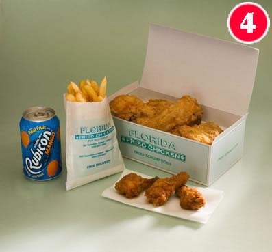 3 Pieces of Chicken with 3 Hot Wings, with Standard Chips and a FREE Can